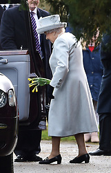 Queen Elizabeth II leaves after attending the morning church service at St Mary Magdalene Church in Sandringham, Norfolk.