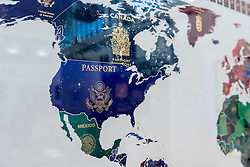 "© Licensed to London News Pictures. 17/01/2017. London, UK. Detail of the United States, from ""World Passport Map 2016"" by Yanko Tihov (GBP2,900) at the preview of the 29th London Art Fair, the UK's premier fair for Modern British and contemporary art, taking place at the Business Design Centre in Islington from 18-22 January 2017, where 129 galleries from 18 different countries will be presenting their artworks. Photo credit : Stephen Chung/LNP"