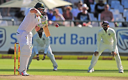 Cape Town 180106 South African betsman Dean Elgar at the crease facing a fast ball from Muhamed Shami of India when the second iinings started.Picture:Phando Jikelo/African News Agency(ANA)