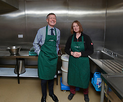 Pictured: Scottish Liberal Democrat leader Willie Rennie tried his hand at jam making under the watchful eye of Craigie Farm's Kirsteen Sinclair to highlight the Brexit threat to the agricultural sector on a visit to West Craigie Farm in Queensferry.<br /> <br /> © Dave Johnston / EEm