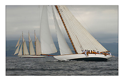 The Lady Anne, the 15 metre (95') Gaff Cutter to windward of Adix a 220' schooner of the same owner...This the largest gathering of classic yachts designed by William Fife returned to their birth place on the Clyde to participate in the 2nd Fife Regatta. 22 Yachts from around the world participated in the event which honoured the skills of Yacht Designer Wm Fife, and his yard in Fairlie, Scotland...FAO Picture Desk..Marc Turner / PFM Pictures