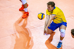 Edvin Svard of Sweden in action during the CEV Eurovolley 2021 Qualifiers between Sweden and Netherlands at Topsporthall Omnisport on May 14, 2021 in Apeldoorn, Netherlands