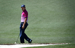 April 8, 2017 - Augusta, GA, USA - Sergio Garcia turns and glances back at the pin on the 2nd green during the third round of the Masters Tournament at Augusta National Golf Club in Augusta, Ga., on Saturday, April 8, 2017. (Credit Image: © Jeff Siner/TNS via ZUMA Wire)