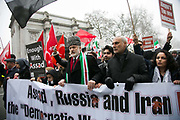 Thousands of people turned out in Central London to protest against the ongoing bombardment of Aleppo, December 17th 2016 in London, Unted Kingdom. The route went down Oxford Street and Regents Street full of Christmas decorations and shoppers.