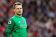 Liverpool Goalkeeper Simon Mignolet looks on. Premier League match, Liverpool v Huddersfield Town at the Anfield stadium in Liverpool, Merseyside on Saturday 28th October 2017.<br /> pic by Chris Stading, Andrew Orchard sports photography.