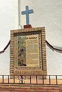 Ceramic tiles picture history story village of Montejaque, Serrania de Ronda, Malaga province, Spain