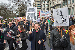 London, February 4th 2017. Protesters in London demonstrate again against Donald Trump's Muslim travel ban and his proposed State Visit to the UK. Organised by anti-racism organisation Hope Not Hate, the march from the US embassy in Grosvenor Square to Downing Street follows the demonstration on Monday 30th January outside Downing Street where a crowd estimated to be 30,000 protested against the same ban. PICTURED: The crowd of several thousand makes its way along Park Lane.