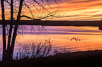 Sunrise over Cheery Creek Reservoir at Cherry Creek State Park, Colorado.