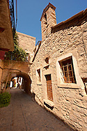 Medieavl streets of the Genoese mastic fort village of Mesta, Mastichochoria area of Chios Island, Greece. .<br /> <br /> If you prefer to buy from our ALAMY PHOTO LIBRARY  Collection visit : https://www.alamy.com/portfolio/paul-williams-funkystock/chios.html<br /> <br /> Visit our GREECE PHOTO COLLECTIONS for more photos to download or buy as wall art prints https://funkystock.photoshelter.com/gallery-collection/Pictures-Images-of-Greece-Photos-of-Greek-Historic-Landmark-Sites/C0000w6e8OkknEb8