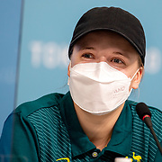 TOKYO, JAPAN - JULY 19: Australian skateboard competitor Hayley Wilson speaks to the media during a Press Conference in the Main Press Centre ahead of the Tokyo 2020 Olympic Games on July 19, 2021 in Tokyo, Japan. (Photo by Tim Clayton/Corbis via Getty Images)