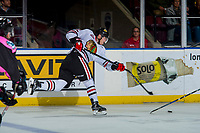 KELOWNA, CANADA - OCTOBER 21: Kieffer Bellows #22 of the Portland Winterhawks takes a slapshot from the point and breaks his stick against the Kelowna Rockets on October 21, 2017 at Prospera Place in Kelowna, British Columbia, Canada.  (Photo by Marissa Baecker/Shoot the Breeze)  *** Local Caption ***