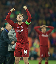 BRITAIN-LIVERPOOL-FOOTBALL-UEFA CHAMPIONS LEAGUE-LIVERPOOL VS FC BARCELONA..(190507) -- LIVERPOOL, May 7, 2019  Liverpool's captain Jordan Henderson celebrates after the UEFA Champions League Semi-Final second Leg match between Liverpool FC and FC Barcelona at Anfield in Liverpool, Britain on May 7, 2019. Liverpool won 4-3 on aggregate and reached the final. FOR EDITORIAL USE ONLY. NOT FOR SALE FOR MARKETING OR ADVERTISING CAMPAIGNS. NO USE WITH UNAUTHORIZED AUDIO, VIDEO, DATA, FIXTURE LISTS, CLUBLEAGUE LOGOS OR ''LIVE'' SERVICES. ONLINE IN-MATCH USE LIMITED TO 45 IMAGES, NO VIDEO EMULATION. NO USE IN BETTING, GAMES OR SINGLE CLUBLEAGUEPLAYER PUBLICATIONS. (Credit Image: © Xinhua via ZUMA Wire)