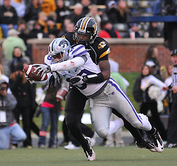 Nov 13, 2010; Columbia, MO, USA; Kansas State Wildcats wide receiver Aubrey Quarles (89) dives in for a touchdown as Missouri Tigers defensive back Kip Edwards (1) makes the tackle in the second half at Memorial Stadium. Missouri won 38-28.  Mandatory Credit: Denny Medley-US PRESSWIRE