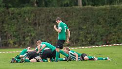 Bispebjergs spillere jubler efter scoringen til 3-1 under kampen i Sydbank Pokalen, 1. runde, mellem Bispebjerg Boldklub og FC Helsingør den 2. september 2020 i Lersø Parken (Foto: Claus Birch).
