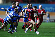 DTH Van der Merwe of the Scarlets ® breaks past Angus O'Brien of the Dragons (l). Guinness Pro12 rugby match, Scarlets v Newport Gwent Dragons at the Parc y Scarlets in Llanelli, West Wales on Saturday 8th October 2016.<br /> pic by  Andrew Orchard, Andrew Orchard sports photography.