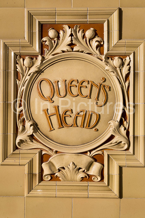 Detail of the Queens Head pub, on 8th January 2019, in Ramsgate, Kent, England. The Port of Ramsgate has been identified as a Brexit Port by the government of Prime Minister Theresa May, currently negotiating the UKs exit from the EU. Britains Department of Transport has awarded to an unproven shipping company, Seaborne Freight, to provide run roll-on roll-off ferry services to the road haulage industry between Ostend and the Kent port - in the event of more likely No Deal Brexit. In the EU referendum of 2016, people in Kent voted strongly in favour of leaving the European Union with 59% voting to leave and 41% to remain.