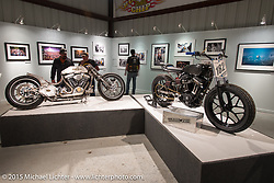 Kyle Shorey's and Hunter Klee's custom bikes in the Naked Truth exhibition at the Buffalo Chip gallery during the 75th Annual Sturgis Black Hills Motorcycle Rally.  SD, USA.  August 5, 2015.  Photography ©2015 Michael Lichter.