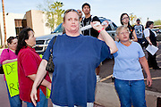 Nov. 9, 2009 -- PHOENIX, AZ: Fry's employees opposed to an expected strike against Fry's and Safeway grocery stores picket the offices of UFCW Local 99 in Phoenix Monday. Members of the United Food and Commercial Workers Union (UFCW) Local 99, based in Phoenix, AZ, is expected to go on strike against Fry's and Safeway grocery stores in Arizona on Friday, Nov. 13. The key sticking point in negotiations, which have broken down, is health care. Currently union members get health coverage for free, the grocery chains want to charge $5.00 per month. The stores have started hiring non-union replacement workers In anticipation of the strike. Unemployment in Arizona is around 10 percent and many union members have now come out against a strike fearing they could lose their jobs.    Photo by Jack Kurtz