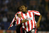 Photo: Leigh Quinnell.<br /> Leicester City v Southampton. The FA Cup. 28/01/2006.<br /> Southamptons Kenwyne Jones celerbrates his winning goal.