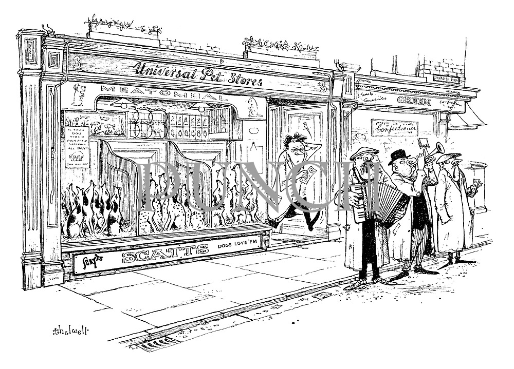 (A deafened pet shop owner rushes to give some money to a group of buskers who are making his dogs howl)