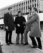 Members of the Irish Show-jumping Team including Paul Darragh (2nd left), and Lt Col Billy Ringrose (right)at Dublin Airport.<br /> 28/11/1972