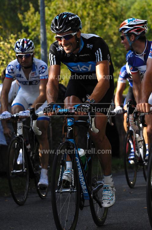 France, October 10 2010: Juan Antonio FLECHA, SKY PRO CYCLING (SKY), climbs the Côte de l'Epan during the 2010 Paris Tours cycle race.  Copyright 2010 Peter Horrell