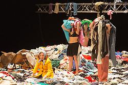 "© Licensed to London News Pictures. 8 April 2014. London, England. Pictured: Elsie de Brauw (left). Photocall for the UK premiere of Alain Platel's ""tauberbach"" performed by les ballet C de la B at Sadler's Wells, London. The piece is performed by dancers/actors Berengere Bodin, Elie Tass, Elsie de Brauw, Lisi Estaras, Remeu Runa and Ross McCormack. At Sadler's Wells on 8 and 9 April 2014. Photo credit: Bettina Strenske/LNP"