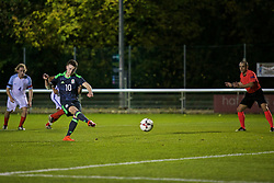 BANGOR, WALES - Saturday, November 12, 2016: Wales' Nathan Broadhead scores the first goal against England from the penalty spot during the UEFA European Under-19 Championship Qualifying Round Group 6 match at the Nantporth Stadium. (Pic by Gavin Trafford/Propaganda)