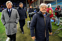 Italian Championship soccer 2017/2018 Sampdoria vs Lazio. 03 Dec 2017 Pictured: Daniele Pradè and Massimo Ferrero President of UC Sampdoria walk on the pitch during the italian championship serie a match between UC Sampdoria and SS Lazio played at Luigi Ferraris stadium in Genoa, on December 03, 2017. Photo credit: Massimo Cebrelli / MEGA TheMegaAgency.com +1 888 505 6342