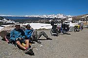 Touring cyclists take a rest at the top of Cottonwood Pass during a 7-day Rocky Mountain tour - Cottonwood Pass - Colorado