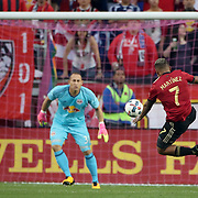 HARRISON, NEW JERSEY- OCTOBER 15: Josef Martinez #7 of Atlanta United shoots watched by Luis Robles #31 of New York Red Bulls during the New York Red Bulls Vs Atlanta United FC, MLS regular season match at Red Bull Arena, Harrison, New Jersey on October 15, 2017 in Harrison, New Jersey. (Photo by Tim Clayton/Corbis via Getty Images)