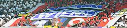 22.05.2011, Gerhard Hanappi Stadion, Wien, AUT, 1. FBL, SK Rapid Wien vs FK Austria Wien,  im Bild Noch friedliche Rapid Fans, Das Bundesliga Spiel Rapid Wien vs Austria Wien musste aufgrund eines Platzsturmes des Rapid Anhangs von Schiedsrichter Thomas Einwaller abgebrochen werden, da die Sicherheit der Spieler nicht mehr gegeben werden konnte. Die Polizei musste hart gegen die sogenannten Fans hart vorgehen. //  The Bundesliga game Rapid Vienna vs Austria Vienna was aborted because of a space storm of rapid Annex by referee Thomas Einwaller because the safety of the players could not be given. The police had to act tough on the so-called fans hard during the Austrian Bundesliga Match Rapid Vienna vs Austria Vienna, Gerhard Hanappi Stadium, Vienna, 2011-05-22,  EXPA Pictures © 2011, PhotoCredit: EXPA/ M. Gruber