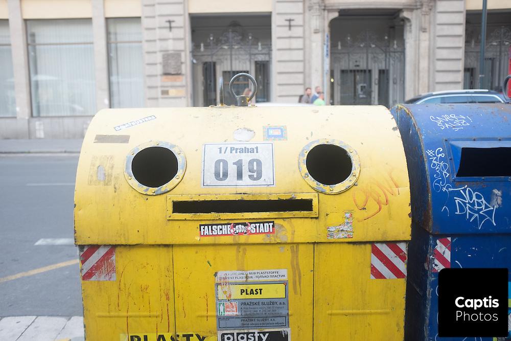 A recycling bin in Prague.