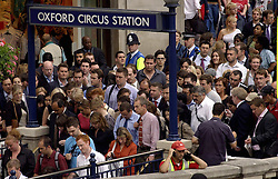 Oxford Circus, London, UK 03/02/2014<br /> Communters outside Oxford Circus Underground station, the evening before a Tube strike starts on Tuesday 4th February. <br /> Photo: Anna Branthwaite/LNP