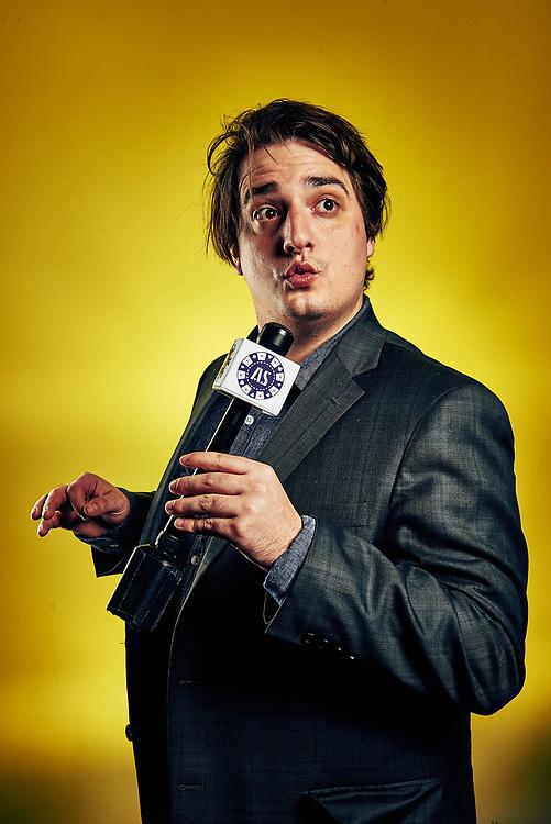 Max Simonet as the MC for Adult Swim's Celebrity Poker.