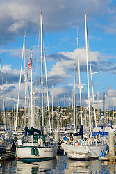 United States, Washington, Seattle. Sailboats and motorboats in a marina in Smith Cove.