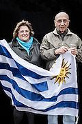 JAVIER CALVELO/  MONTEVIDEO/  ESTADIO CENTENARIO/ CLASIFICATORIAS SUDAMERICANAS MUNDIAL BRASIL 2014 / REPECHAJE MUNDIAL BRASIL 2014 - SERIE SUDAMERICA-ASIA/  PARTIDO DE VUELTA/ URUGUAY-JORDANIA<br /> Proyecto documental sobre la identidad, lo nacional, lo Uruguayo y el consumo. Se trata de retratos simples mirando a camara y con un fondo neutro. Les pregunto a los fotografiados como quieren ser recordados en el futuro y de que localidad son.<br /> El trabajo esta influenciado por la obra de August Sander pero tambien por Richard Avedon y Manuel Alvarez Bravo. <br /> El titulo esta basado en la obra de Raymond Firth, Tipos Humanos. (Raymond William Firth, ( 1901-2002) fue un etnólogo neozelandés profesor de Antropología en la London School of Economics, es uno de los fundadores de la antropología económica británica). <br /> En la foto:  Tipos Humanos en el Estadio Centenario, Platea America. Foto: Javier Calvelo <br /> <br /> 2013-11-20 dia miercoles