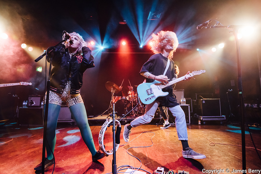 Grouplove perform live at Scala, London,  on Wednesday 23 August 2017. Picture shows Hannah Hooper and Christian Zucconi.