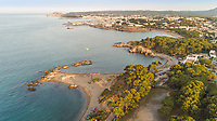 Aerial view of Platja de Les Muscleres at Girona, Spain.