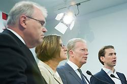 21.09.2015, Bundesparteizentrale, Wien, AUT, ÖVP, Pressekonferenz zum Aktionsplan Asyl. im Bild v.l.n.r. Bundesminister für Justiz Wolfgang Brandstetter (ÖVP), Bundesministerin für Inneres Johanna Mikl-Leitner (ÖVP), Vizekanzler und Minister für Wirtschaft und Wissenschaft Reinhold Mitterlehner (ÖVP) und Bundesminister für europaeische und internationale Angelegenheiten Sebastian Kurz (ÖVP) // f.l.t.r. Minister of Justice Wolfgang Brandstetter (OeVP), Minister of the Interior Johanna Mikl-Leitner (OeVP), Vice Chancellor of Austria and Minister of Science and Economy Reinhold Mitterlehner (OeVP) and Foreign Minister of Austria Sebastian Kurz (OeVP) during press conferenc of the austrian people's party according to Refugee crisis in Europe at federal party centre in Vienna, Austria on 2015/09/21. EXPA Pictures © 2015, PhotoCredit: EXPA/ Michael Gruber