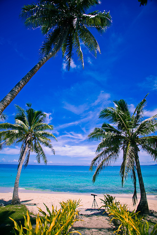 Beach Landscape with Aqua Colored Water, White Sand, and Telescope, Fiji