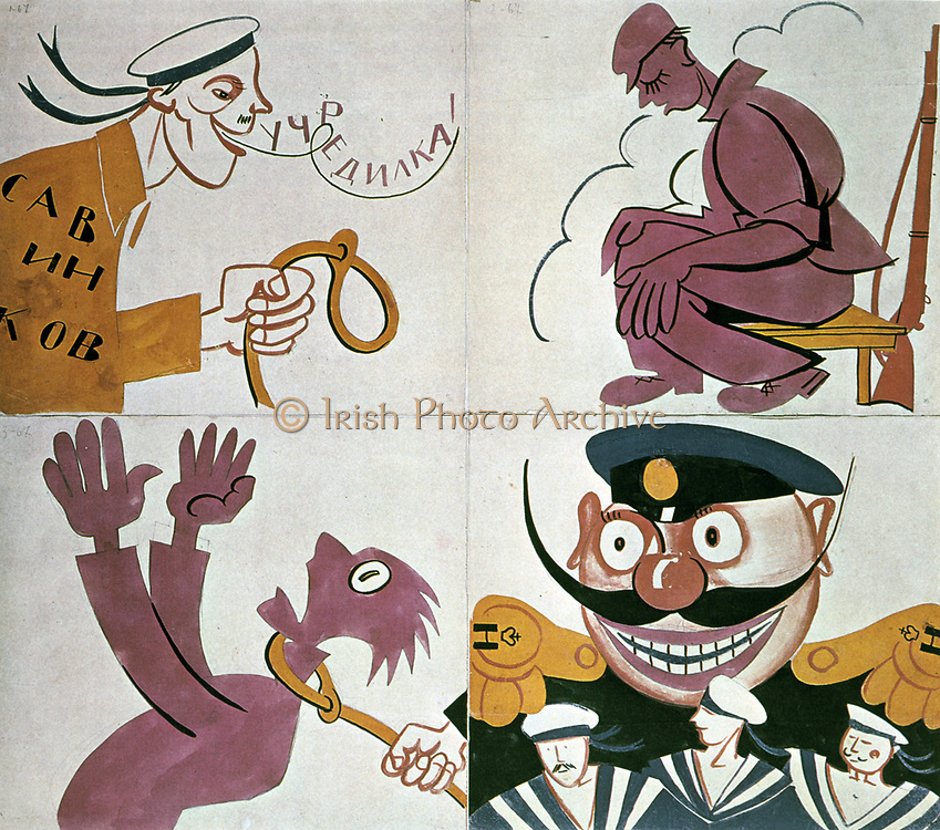 Caricature against the Constituant Assembly, 1921.  Vladimir Mayakovsky (1893-1930) Soviet poet, playwright and draughtsman. Russia USSR  Communism Communist