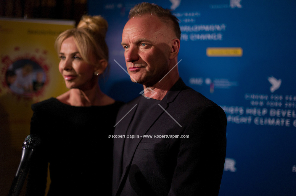 Sting and his wife Trudie Styler at the 2012 Cinema For Peace New York 2012...Photo by Robert Caplin