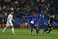 Loic Damour of Cardiff city (c) in action.EFL Skybet championship match, Cardiff city v Leeds Utd at the Cardiff city stadium in Cardiff, South Wales on Tuesday 26th September 2017.<br /> pic by Andrew Orchard, Andrew Orchard sports photography.