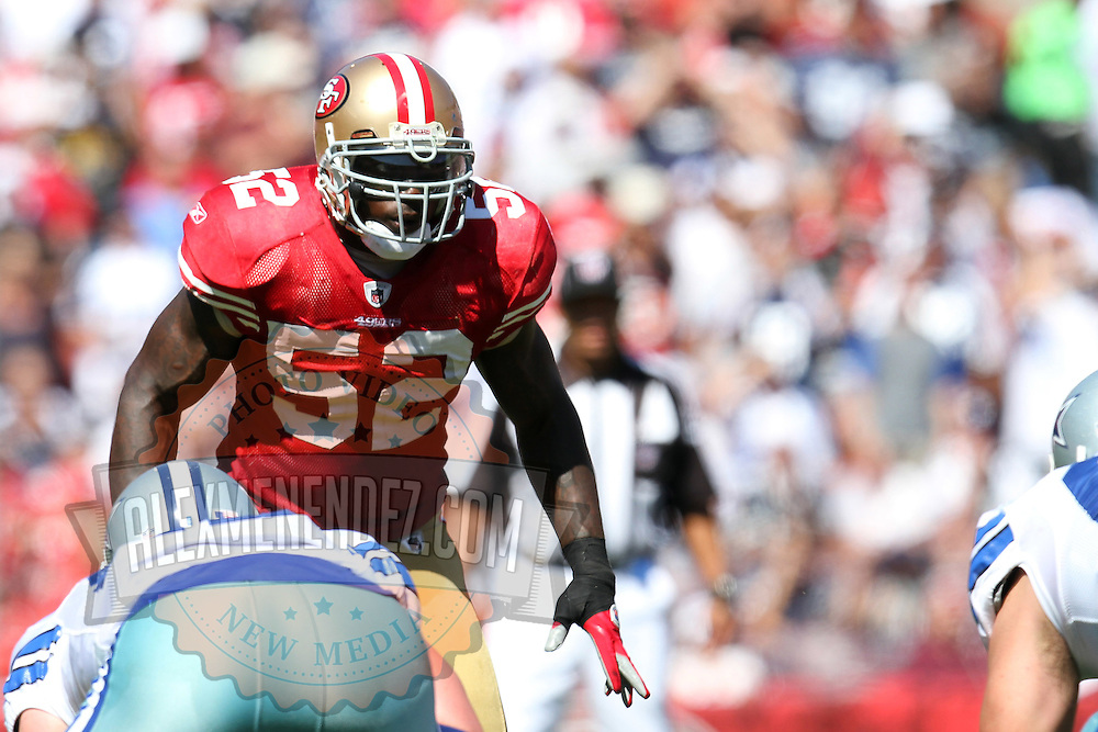 San Francisco 49ers inside linebacker Patrick Willis (52) during an NFL football game between the Dallas Cowboys and the San Francisco 49ers at Candlestick Park on Sunday, Sept. 18, 2011 in San Francisco, CA.  (Photo/Alex Menendez)