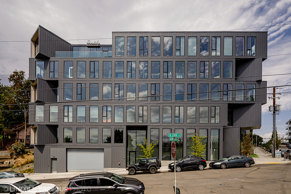 The Ironside Building in Portland, Oregon. A good example of a modern geometric inspired building with a stacked block look. Architectural photograph of the Flatiron building designed by Works Progress Architecture