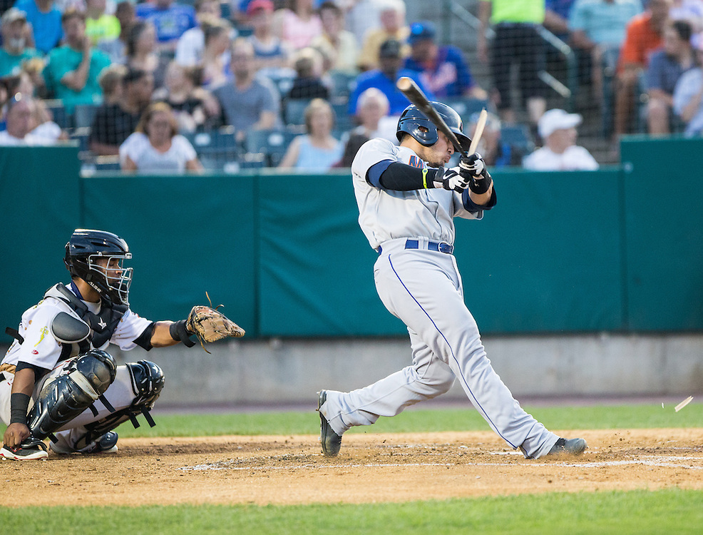Albert Cordero of the Binghamton Mets breaks his bat during a game against theNew Britain Rock Cats at New Britain Stadium in New Britain, CT. (Dustin Satloff)