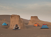 Team sleeping in tents in the early morning.