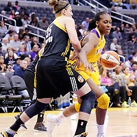 19 June 2014: Los Angeles Sparks forward/center Sandrine Gruda (7) drives past Tulsa Shock forward Jordan Hooper (35) during the Los Angeles Sparks 87-77 victory over the Tulsa Shock, at the Staples Center, Los Angeles, California, USA.