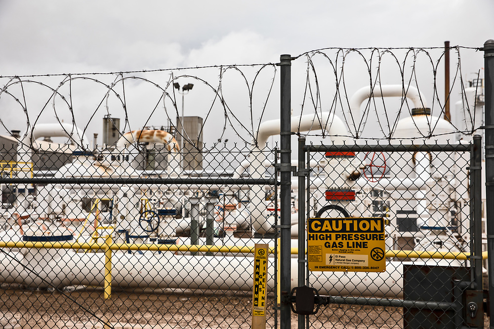 OIl and gas industry site in the Waha oil field in  Coyanosa , Texas in the Permain Basin.